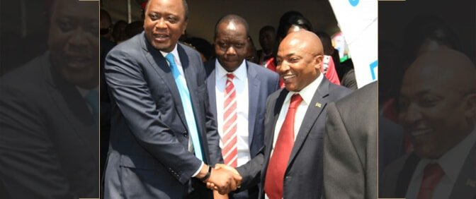 The President of the Republic of Kenya Uhuru Kenyatta with Richard Muteti HSC
